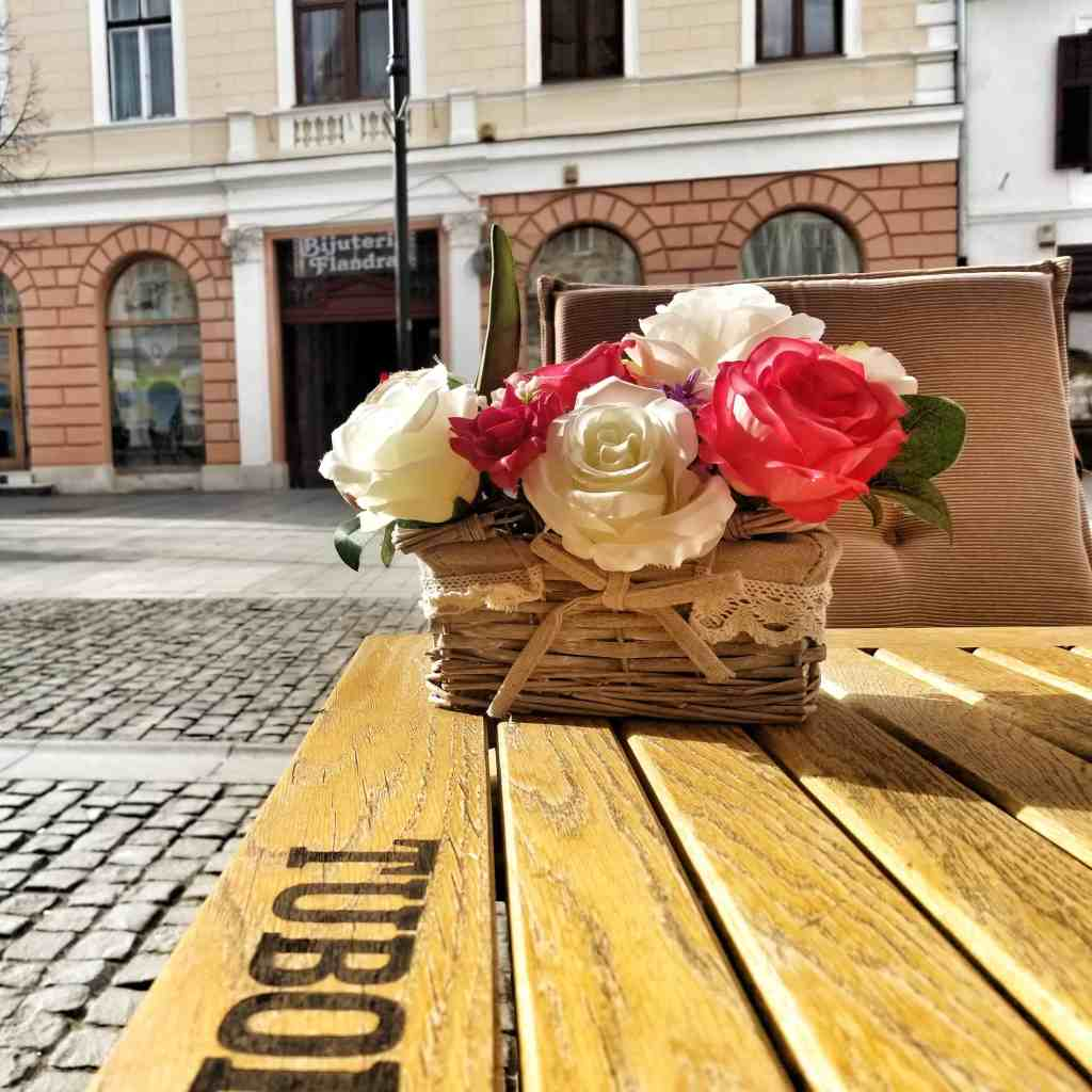 Flowers on a table in Sibiu, Romania at a restaurant