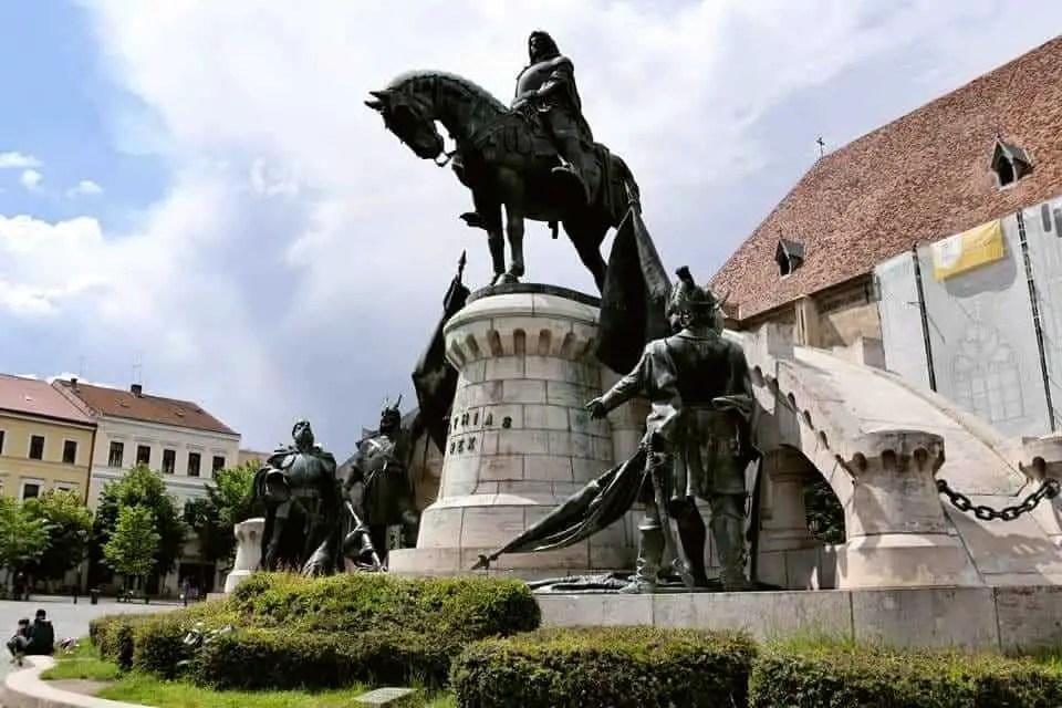 Statue in Piata Unirii in Cluj Napoca, Romania