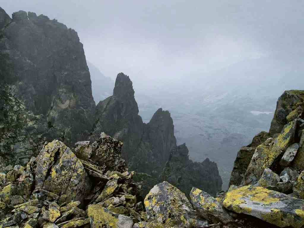 Misty mountain crags in Transylvania.