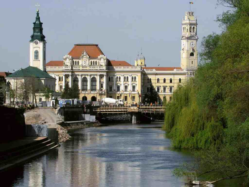 Oradea city center on river