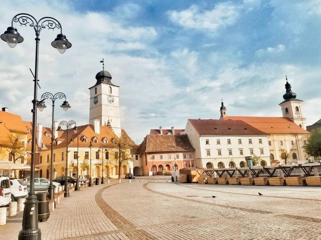 PIata Mica in Sibiu, Romania, empty during the 2020 lockdown.