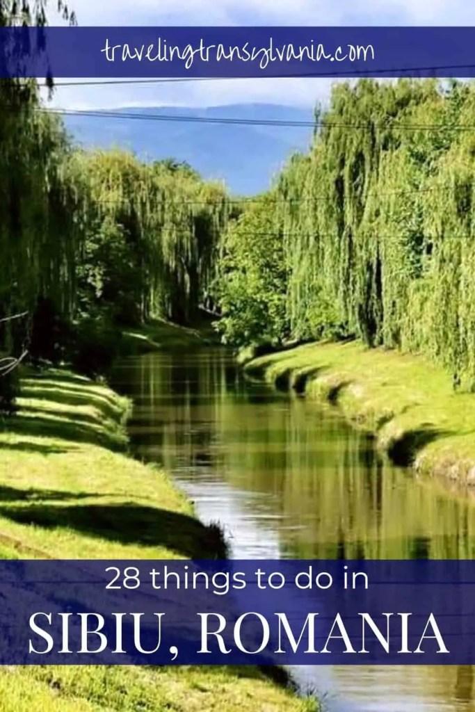 Pinterest graphic - Cibin River - things to do in Sibiu, Romania