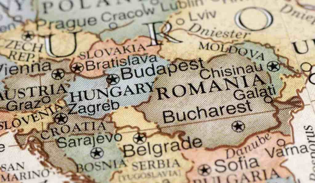 Close-up of a map of Central/Eastern Europe focusing on Hungary and Romania.