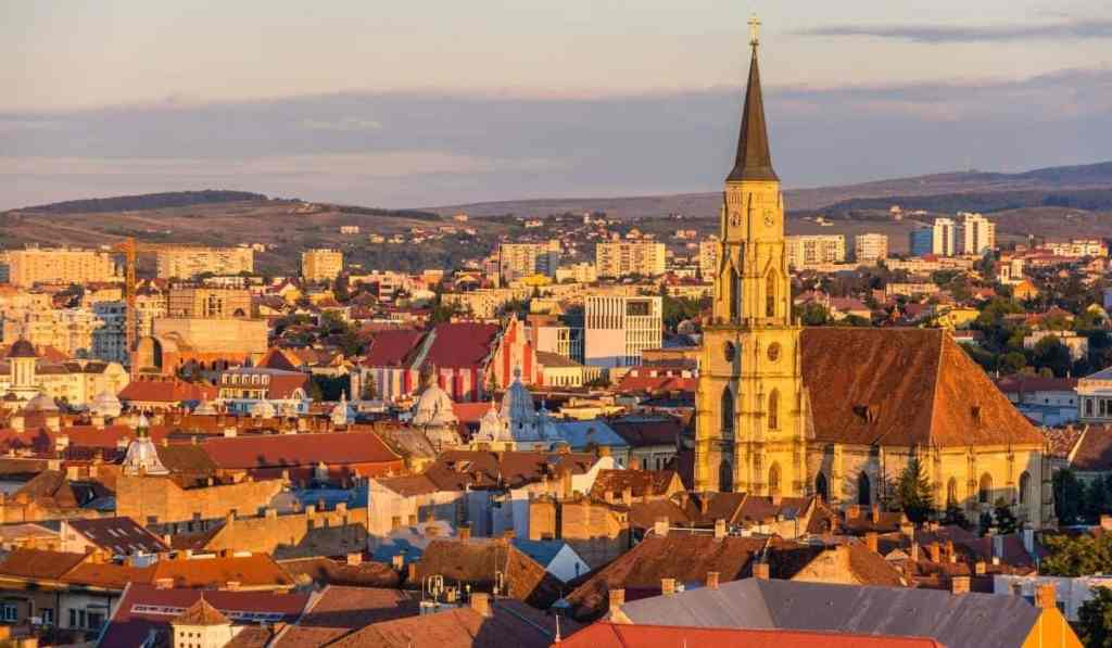 Views of Cluj-Napoca from Cetatuia Park during sunset.
