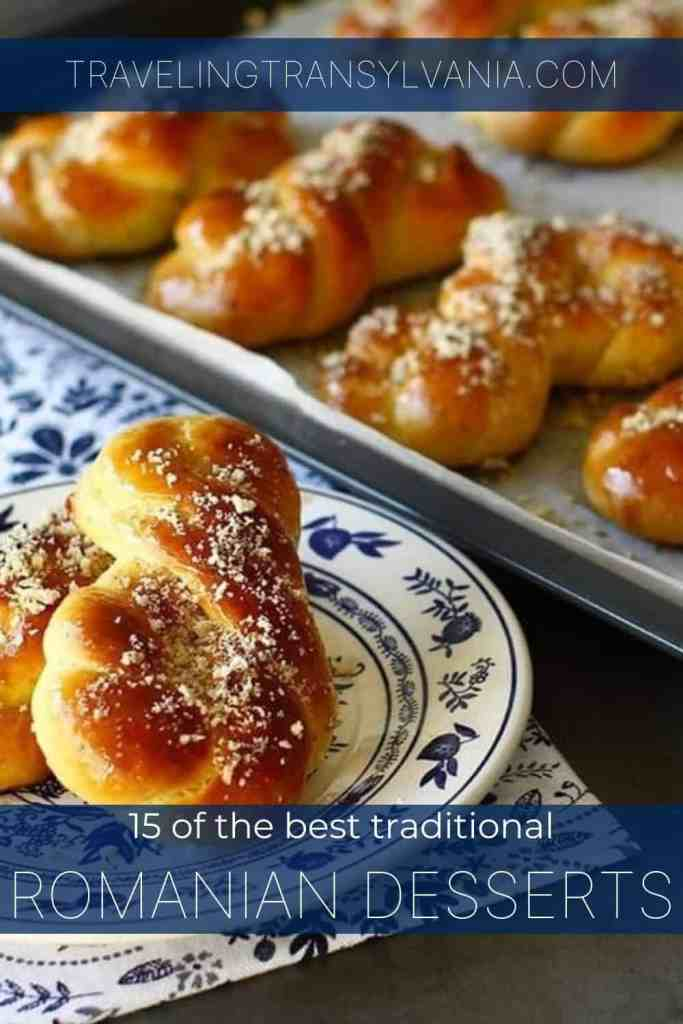 Pinterest graphic - 15 Traditional Romanian desserts with photo of Mucenici.