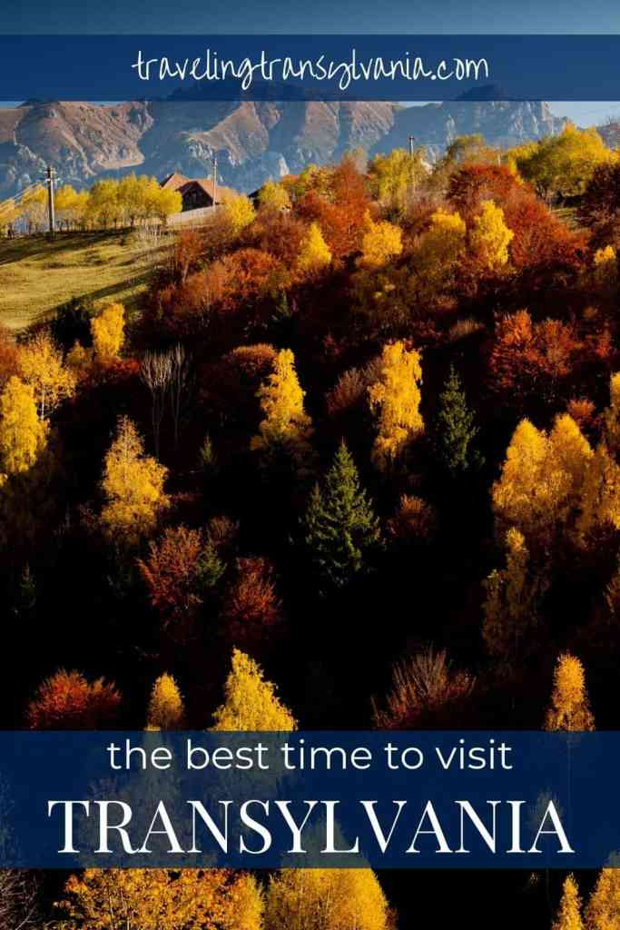 Pinterest graphic - best time to visit Transylvania with photo showing autumn-colored trees in the mountains.