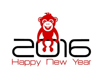 2016 New Year card or background with monkey.Happy New Year. Merry Christmas.Year of the monkey!