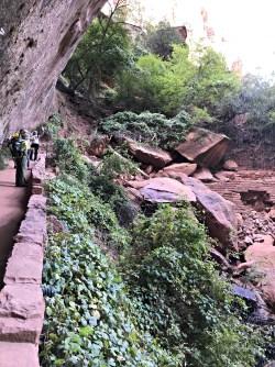 Rockslide at Upper Emerald Pool Trailhead-Zion National Park