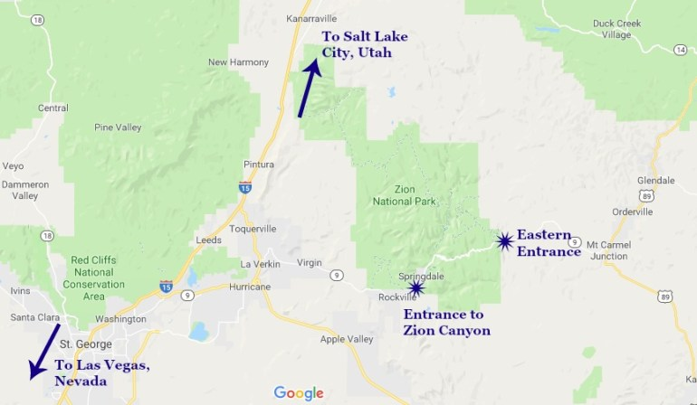 Map of Zion National Park with park entrances