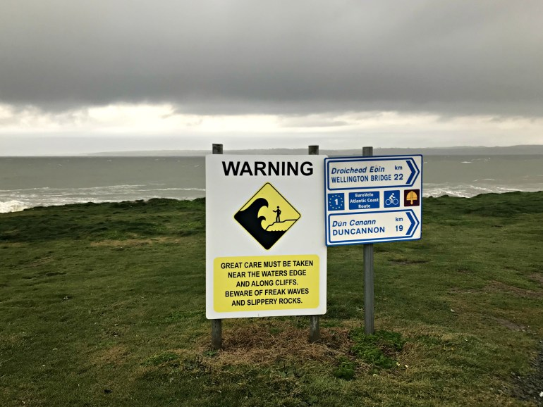 Caution sign at the Hook Head Lighthouse