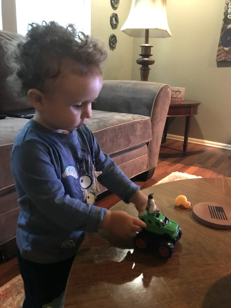 Toddler playing at Airbnb for families