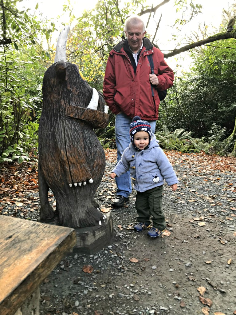Toddler with the Gruffalo at Wells House in Co. Wexford, Ireland travel with small children