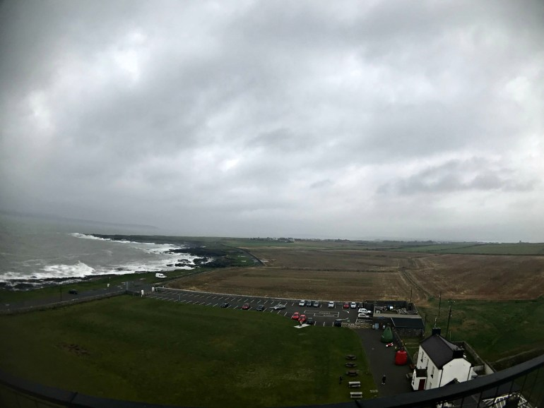View towards the Irish Sea and countryside from the top of Hook Head Lighthouse
