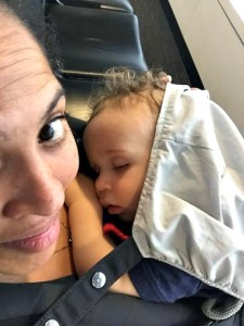 baby sleeping at airport prior to flight-minimizing jet lag in babies