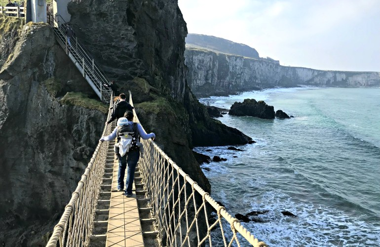 Crossing Carrick-a-Rede Rope Bridge with a toddler