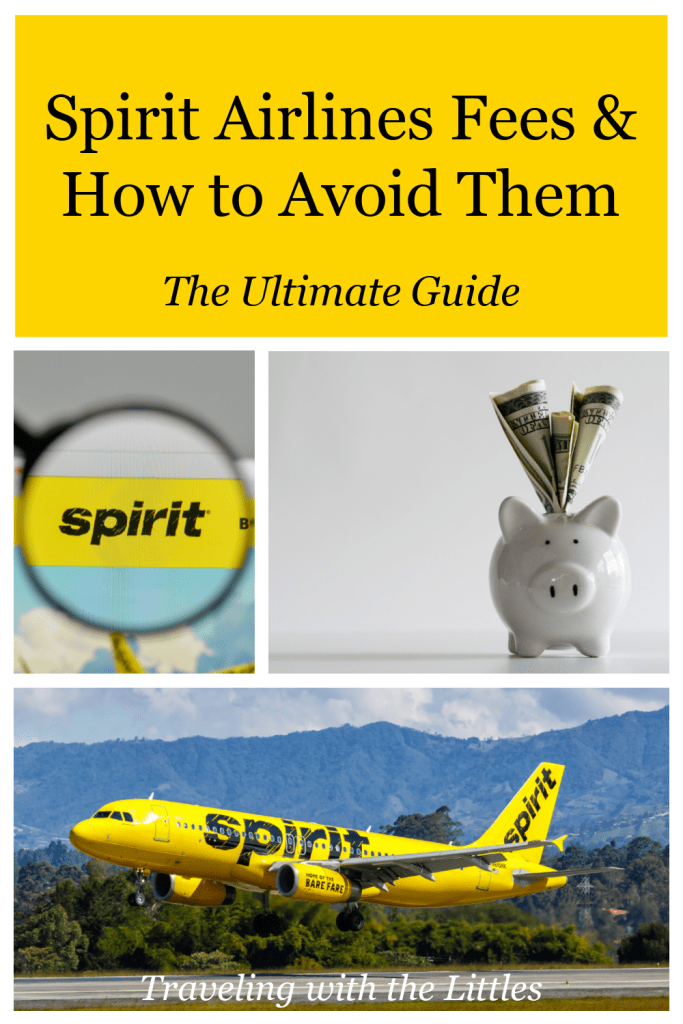Pinterest image with a Spirit Airlines plane, a white piggy bank with dollars sticking out, entitled Spirit Airlines Fees & How to Avoid Them