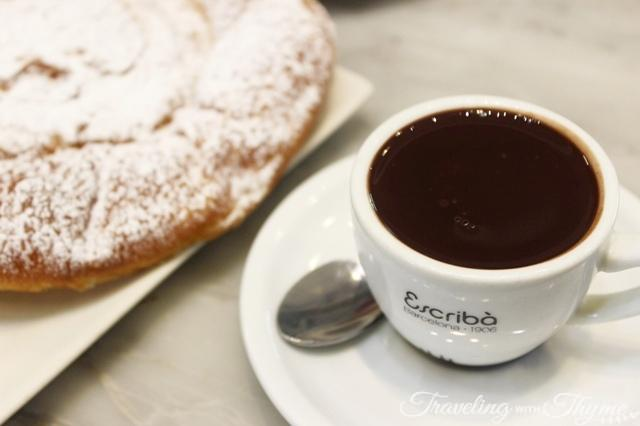 Hot chocolate and ensaimada at Pasteleria Escriba