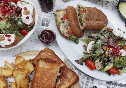 Sandwiched Restaurant FlatLay Burgers Salads Lebanon