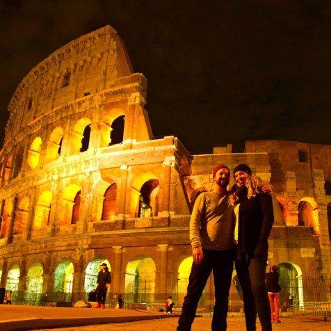 Italy Travel Guide: Outside the Coloseum at nightfall