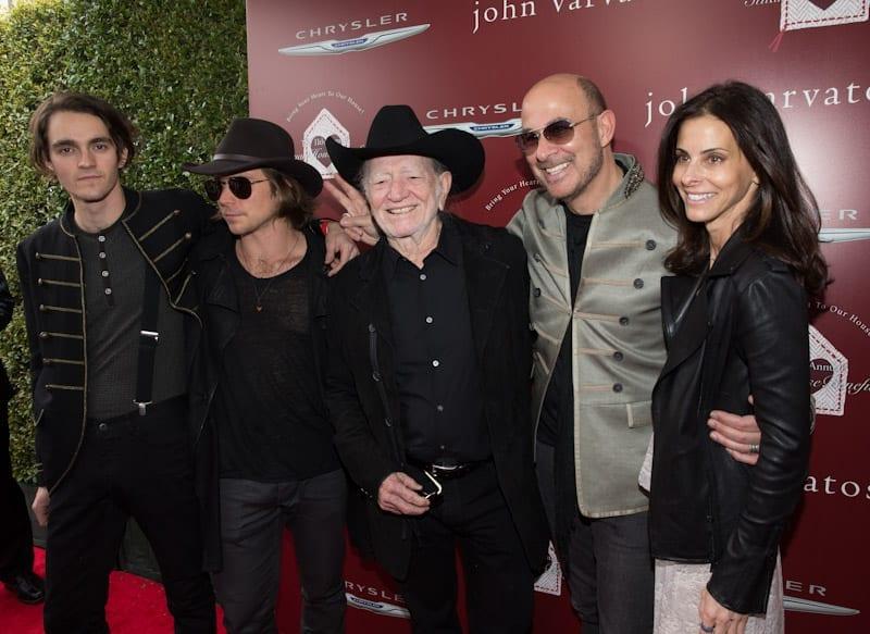 John Varvatos, Joyce Varvatos, Willie Nelson, Lukas Nelson, and Micah Nelson at John Varvatos 11th Annual Stuart House Benefit