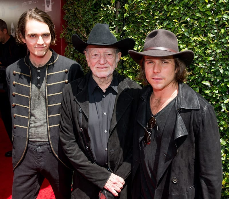 Willie Nelson, Lukas Nelson, and Micah Nelson at John Varvatos 11th Annual Stuart House Benefit