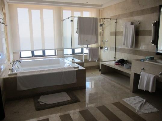 The huge bathroom and double Jacuzzi