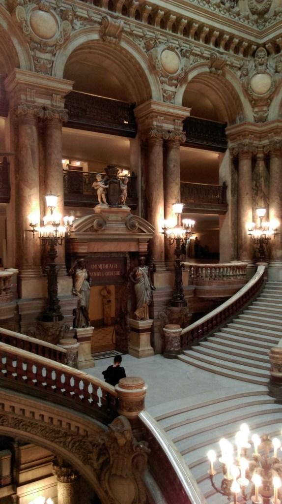 Inside the Opéra Garnier; home to the Phantom of the Opera, Paris; from a travel blog by www.traveljunkiegirl.com