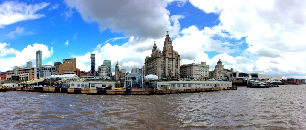 Liverpool Waterfront from the Dazzle Ferry; from a travel blog by www.traveljunkiegirl.com