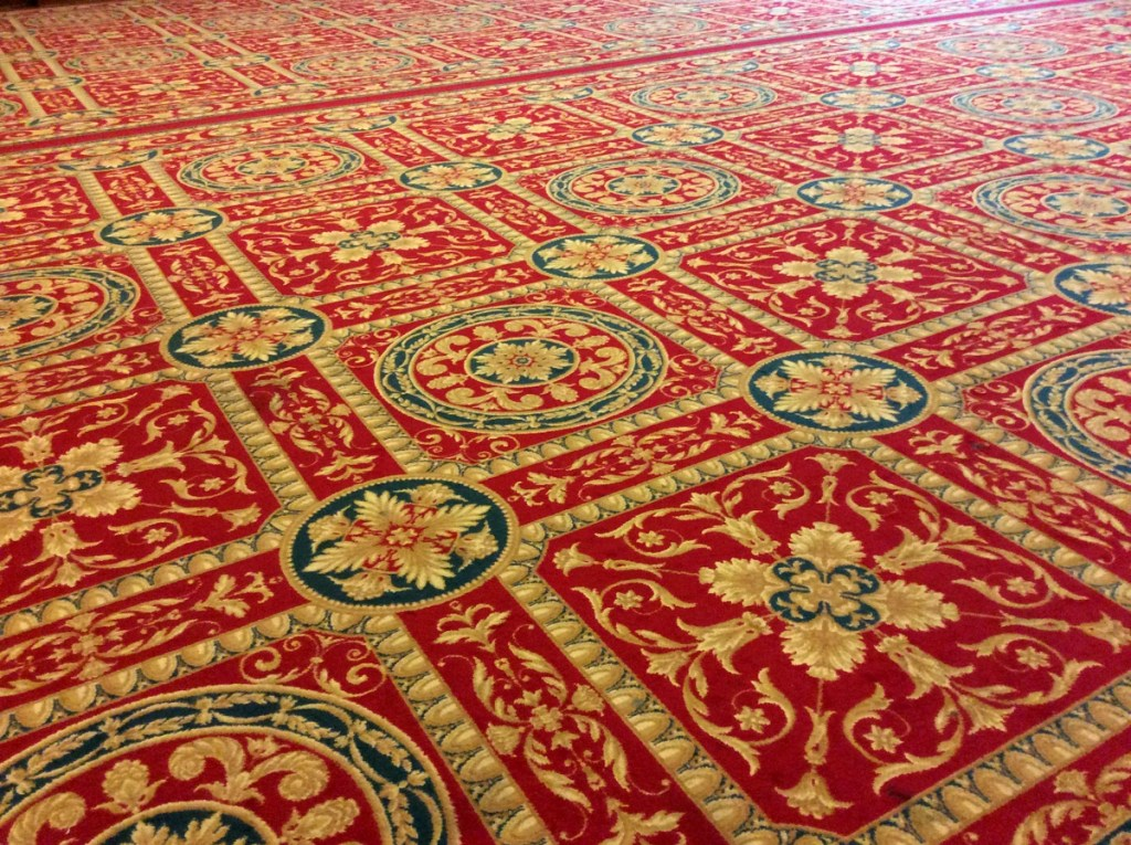 The flooring of the Banqueting Hall at Glasgow's City Chambers on George Square; from a travel blog by www.traveljunkiegirl.com