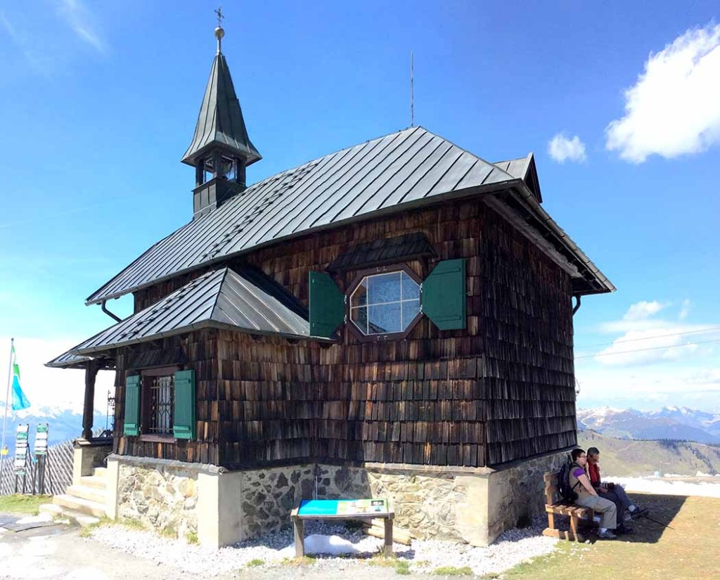 Elisabeth Chapel at the top of the Schmittenhöhe Mountain, Austria; from a travel blog by www.traveljunkiegirl.com