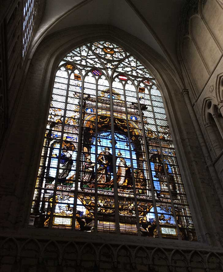 The North Transept window of Brussels Cathedral, Belgium; from a travel blog by www.traveljunkiegirl.com