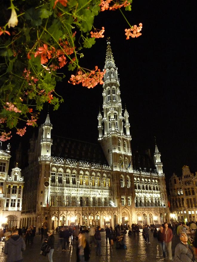 The Grand Place at Night in Brussels, Belgium; from a travel blog by www.traveljunkiegirl.com