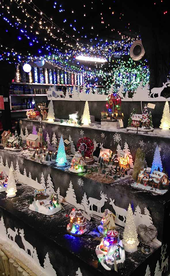 The Christmas Lights room at Gordon Rigg Garden Centre, Walsden; from a travel blog by www.traveljunkiegirl.com