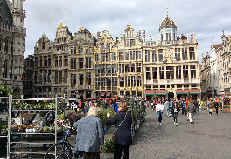 The stunning architecture of the Grand Place in Brussels, Belgium; from a travel blog by www.traveljunkiegirl.com