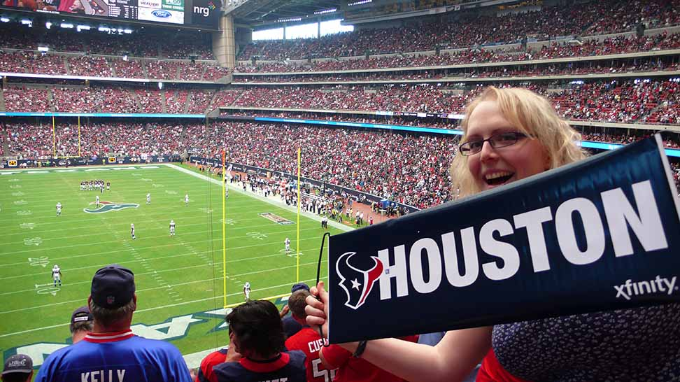 Watching the NFL at the NRG Stadium in Houston, from a travel blog by www.traveljunkiegirl.com