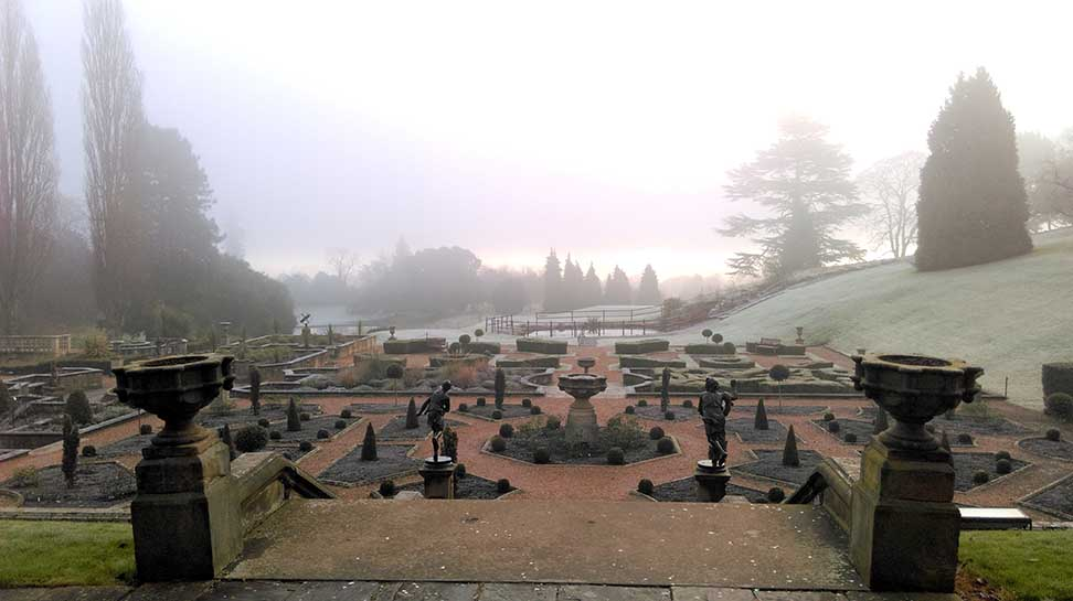 Morning Mist on the Gardens at The Welcombe Hotel, Warwickshire; from a travel blog by www.traveljunkiegirl.com