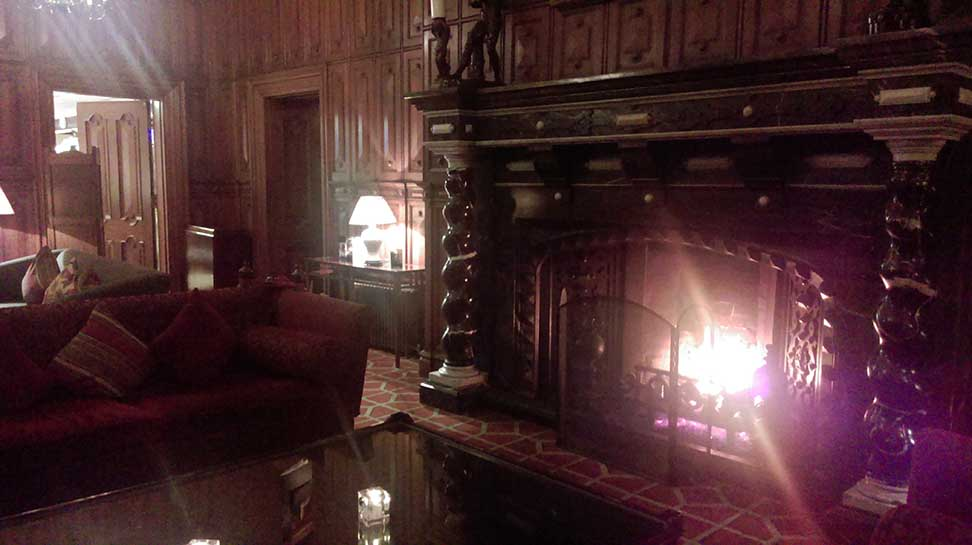 The Main Lounge Fire at The Welcombe Hotel and Spa, Stratford, Warwickshire; from a travel blog by www.traveljunkiegirl.com