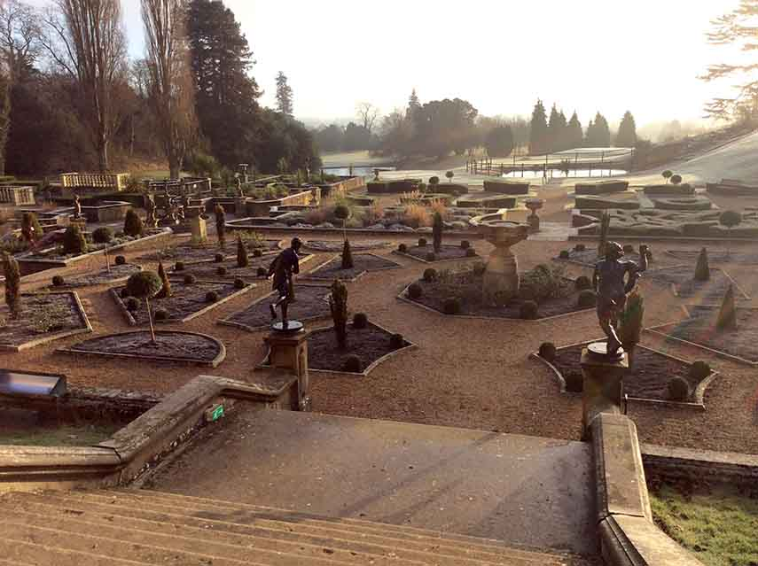 The Formal Italian Gardens at The Welcombe Hotel near Stratford, Warwickshire; from a travel blog by www.traveljunkiegirl.com