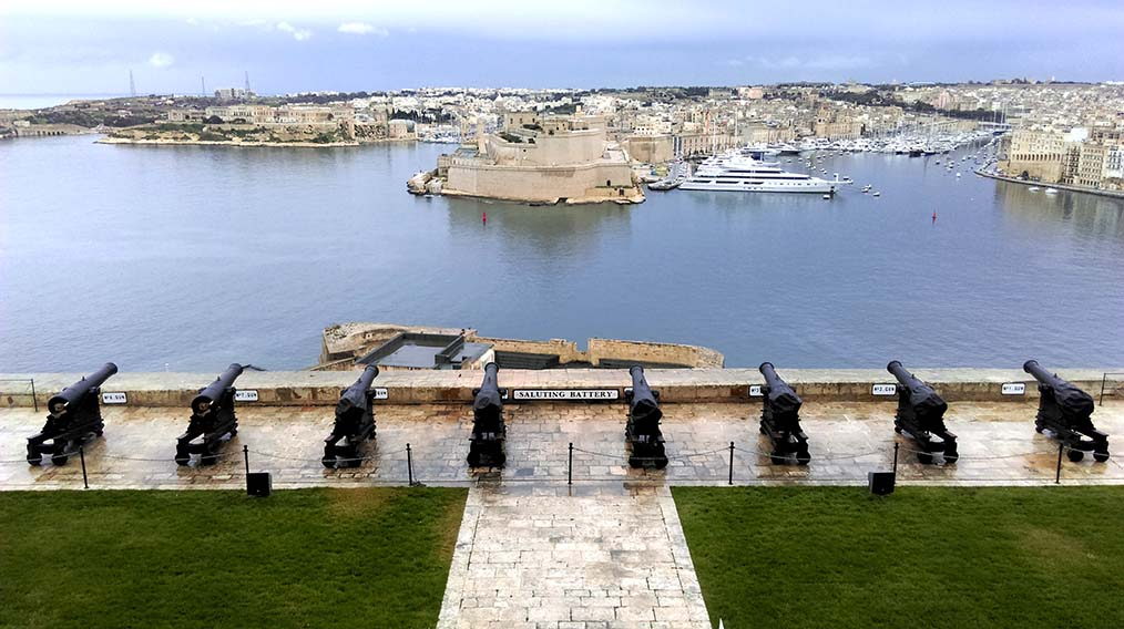 Overlooking the Grand Harbour from Valletta's Saluting Battery, Malta; from a travel blog by www.traveljunkiegirl.com