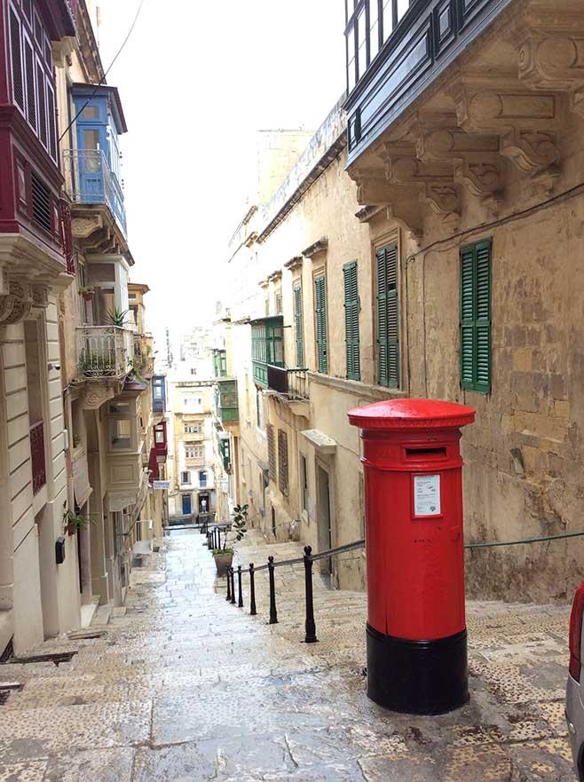 British Red Post Box in Valletta, Malta; from a travel blog by www,traveljunkiegirl.com