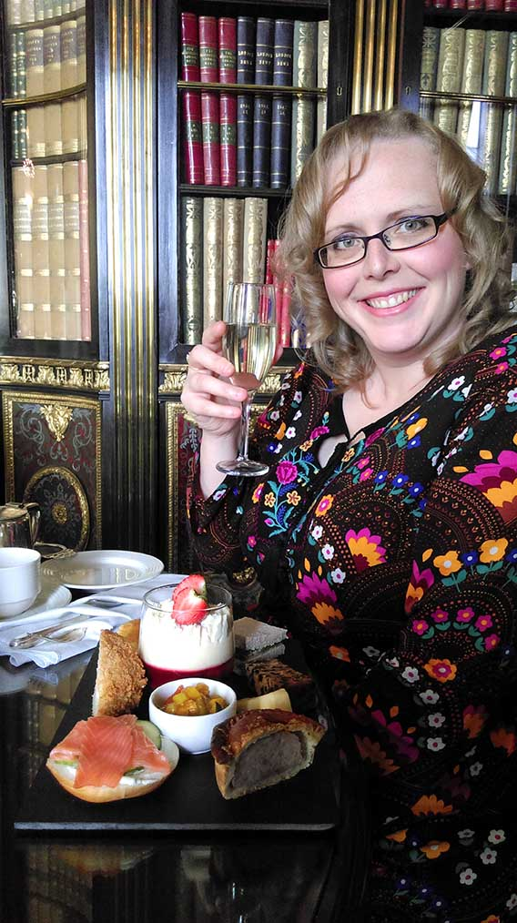 Enjoying Afternoon Tea at Wynyard Hall, County Durham; from a travel blog by www.traveljunkiegirl.com