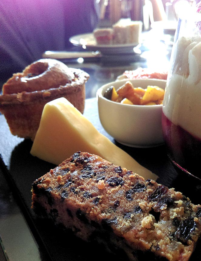 Fruit Cake and Cheese are included as part of the Gentlemen's Afternoon Tea at Wynyard Hall, County Durham; from a travel blog by www.traveljunkiegirl.com
