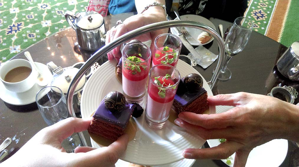 Mini Cakes Selection in the Afternoon Tea at Wynyard Hall, County Durham; from a travel blog by www.traveljunkiegirl.com