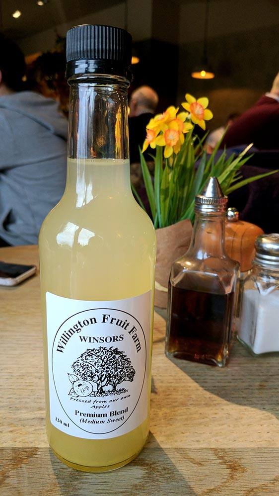 Local Cheshire Apple Juice in the Cheshire Coffee Shop at The Hollies Farm Shop, Cheshire; from a travel blog by www.traveljunkiegirl.com
