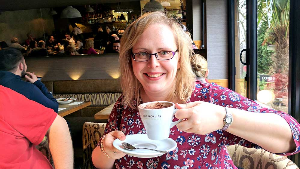 Enjoying a Hot Chocolate at the Hollies Farm Shop, Cheshire; from a travel blog by www.traveljunkiegirl.com