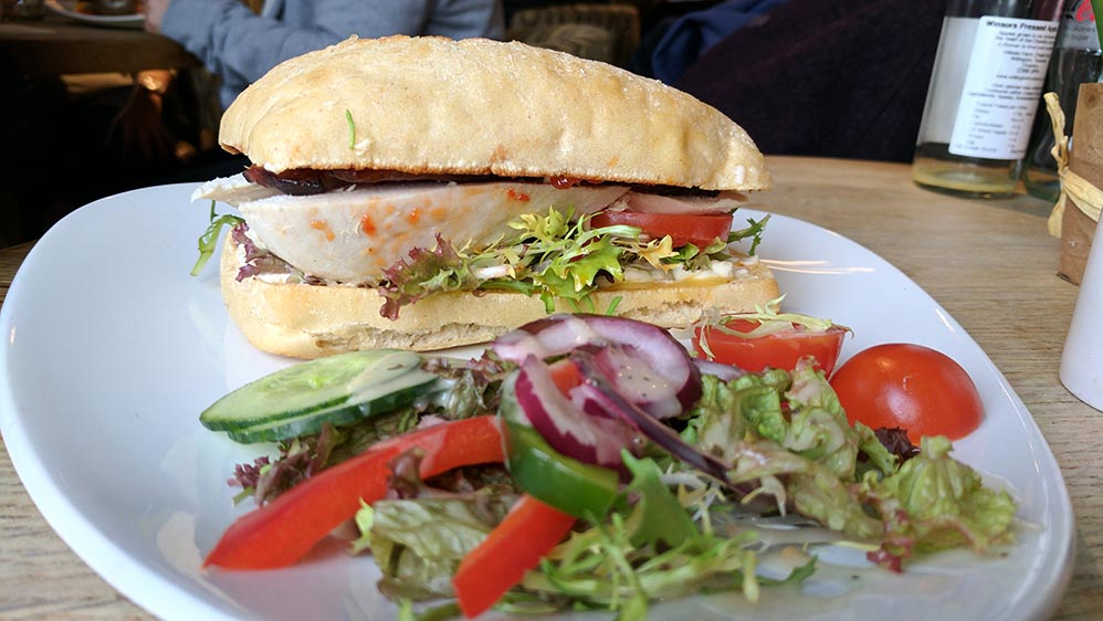 Chicken, Bacon and Brie Sandwich in the Cheshire Coffee Shop at The Hollies Farm Shop, Cheshire; from a travel blog by www.traveljunkiegirl.com