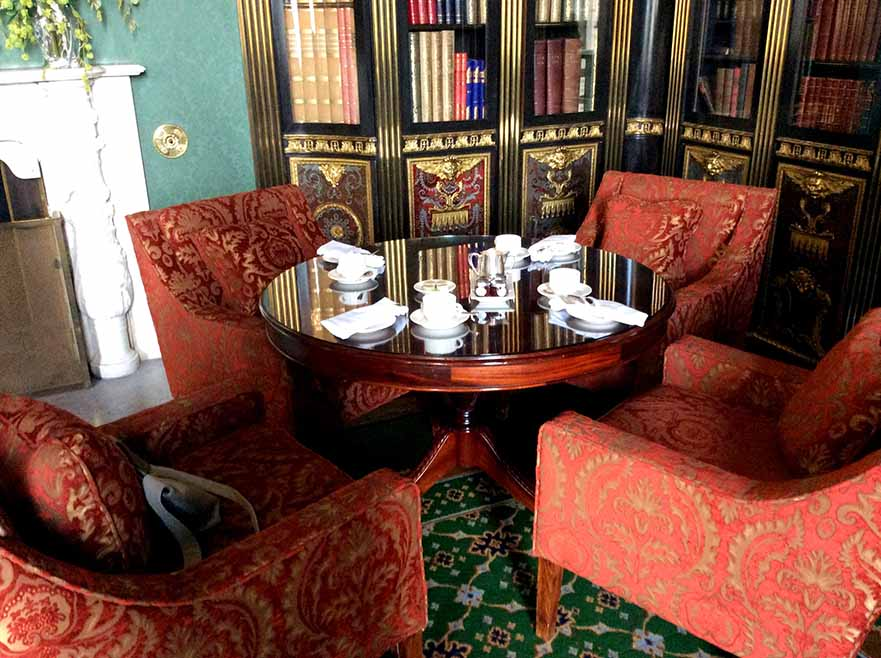 The Library at Wynyard Hall Hotel, the setting for Afternoon Tea, County Durham; from a travel blog by www.traveljunkiegirl.com