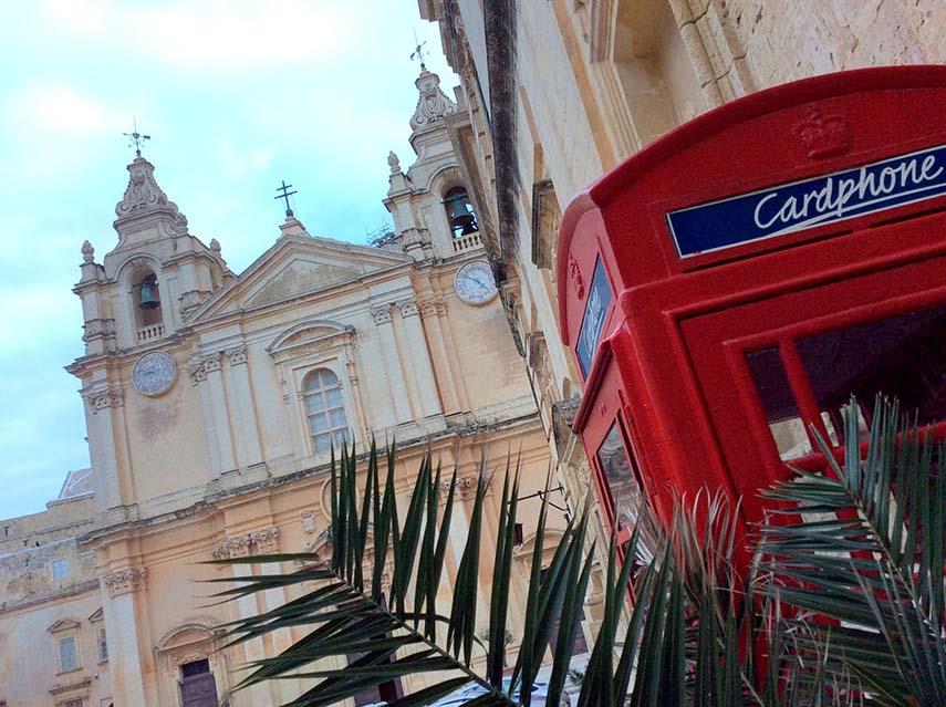 British Phone Box in Mdina, Malta; from a travel blog by www.traveljunkiegirl.com