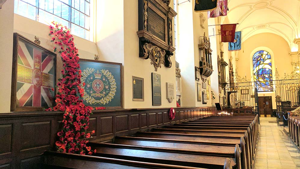 Derby Cathedral's version of the Weeping Window of poppies that are touring the UK; from a travel blog by www.traveljunkiegirl.com