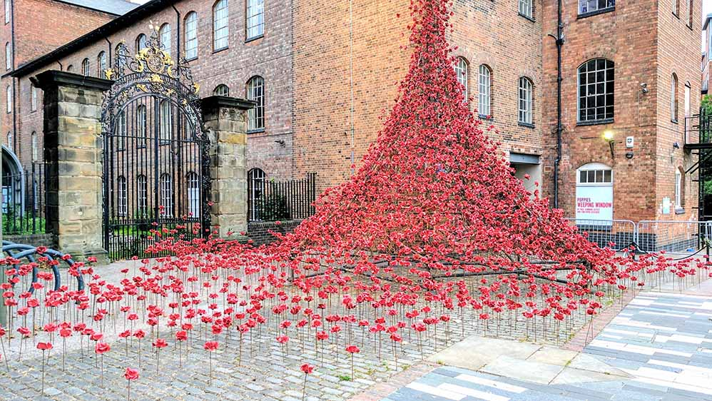The Weeping Window in Derby, England; part of the First World War Centenary Celebrations; from a travel blog by www.traveljunkiegirl.com
